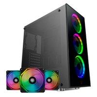 Kit Gabinete Pichau Pouter II Led RGB + Kit Ventoinhas Wave RGB 3x + Controladora