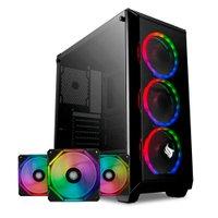 Kit Gabinete Pichau Rostock RGB + Kit Ventoinhas Wave RGB 3x + Controladora