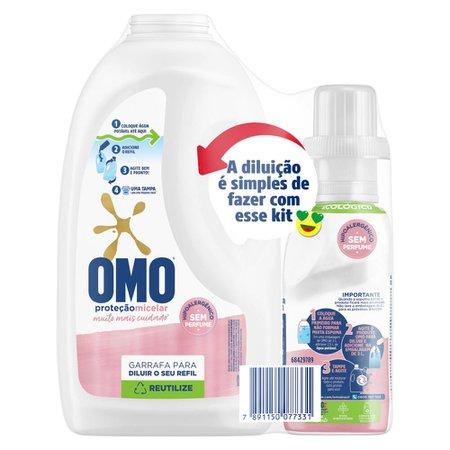 Kit Lava-Roupas Líquido sem Perfume Omo Proteção Micelar 500ml Refil Econômico + Garrafa para Diluir