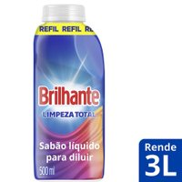 Refil Lava-Roupas Brilhante Concentrado Limpeza Total 500ml