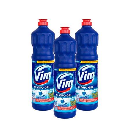 Kit 3 Desinfetantes Vim Multiuso Cloro Gel Original 700ml
