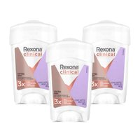 Kit 3 Desodorantes Rexona Clinical Women Antitranspirante Extra Dry Creme 48g