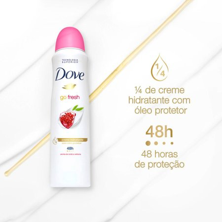 Kit com 3 Desodorantes Antitranspirantes Aerosol Dove Go Fresh Romã e Verbena 150ml