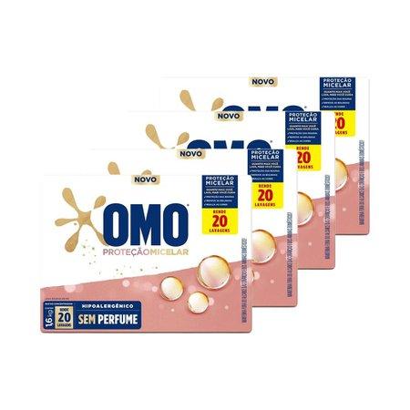 Kit 4 Lava-Roupas em Pó Omo sem Perfume Proteção Micelar 1,6kg