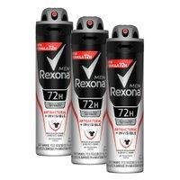 Kit com 3 Desodorantes Antitranspirantes Aerosol Masculino Rexona Antibacterial + Invisible 150ml