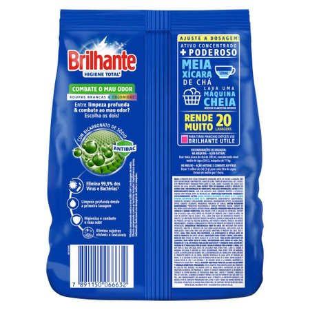 Kit 4 Sabão em Pó Brilhante Higiene Total 1,6kg