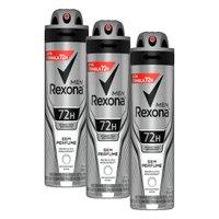Kit com 3 Desodorantes Antitranspirantes Aerosol Masculino Rexona Sem Perfume 72 horas 150ml
