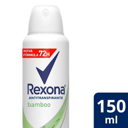 Kit com 3 Desodorantes Antitranspirantes Aerosol Feminino Rexona Bamboo 72 horas 150ml