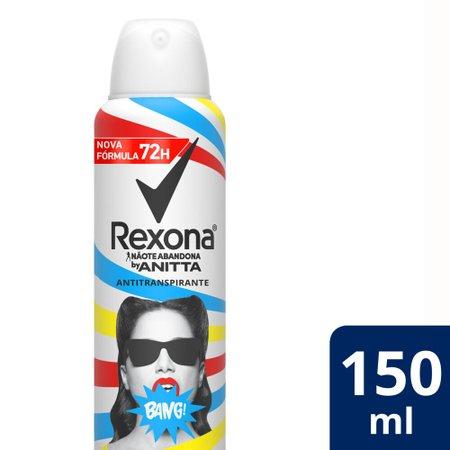 Kit com 3 Desodorantes Antitranspirantes Aerosol Rexona Bang by Anitta 150ml