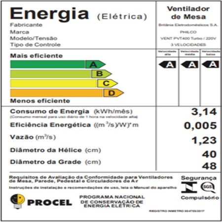 Ventilador Philco PVT400 6 Pás Bordô 3 Velocidades Turbo