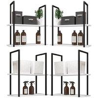 Kit 04 Prateleiras Decorativas Multiuso Industrial D01 Design Branco Fosco - Lyam Decor