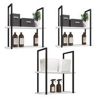 Kit 03 Prateleiras Decorativas Multiuso Industrial D01 Design Branco Fosco - Lyam Decor