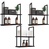 Kit 03 Prateleiras Decorativas Multiuso Industrial D01 Design Preto Fosco - Lyam Decor