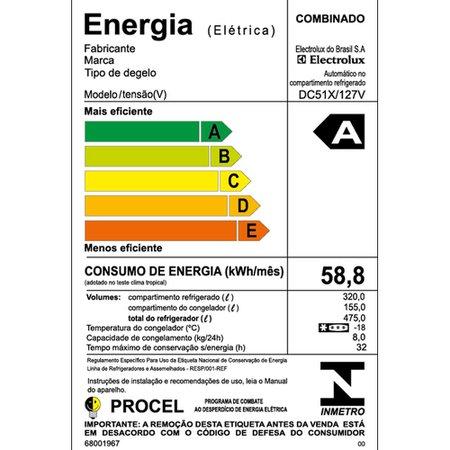 Refrigerador / Geladeira Electrolux Cycle Defrost, 2 Portas, 475 Litros - DC51X