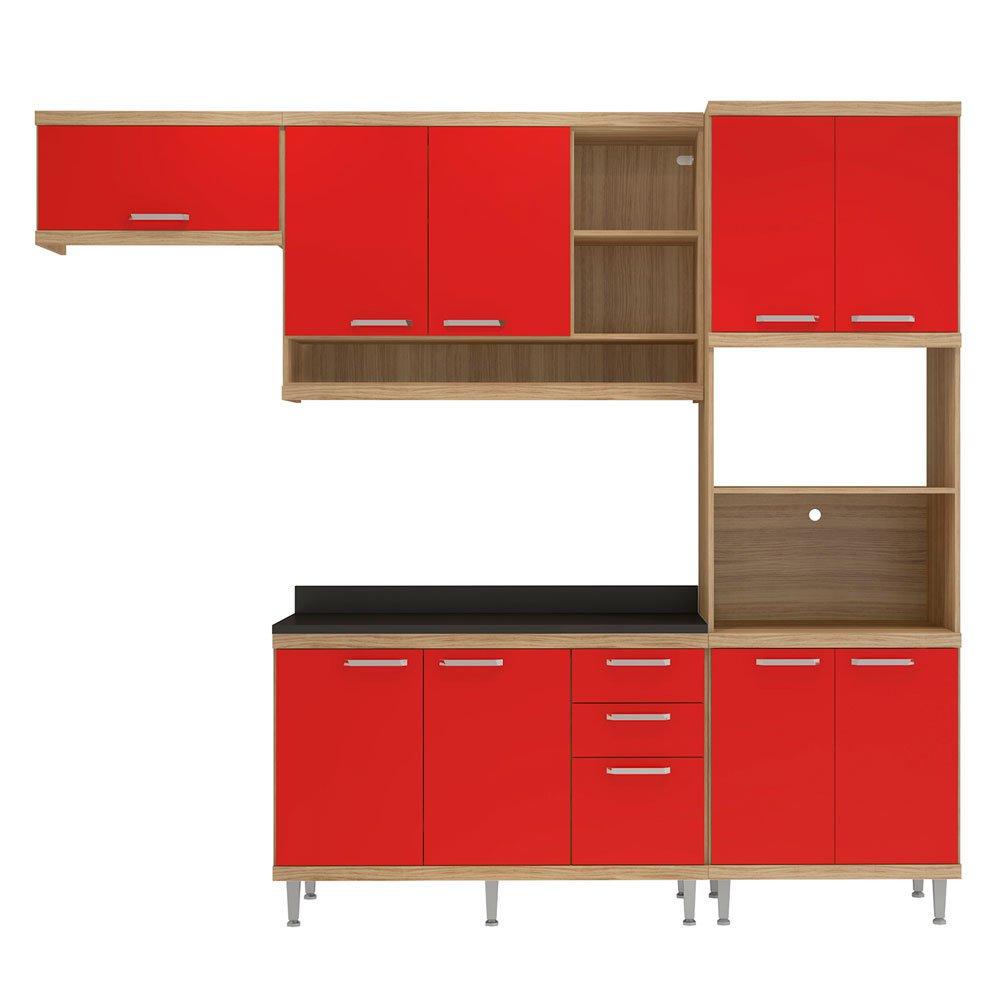 Cozinha Compacta Multim Veis Sic Lia Com Tampo 9 Portas 3 Gavetas