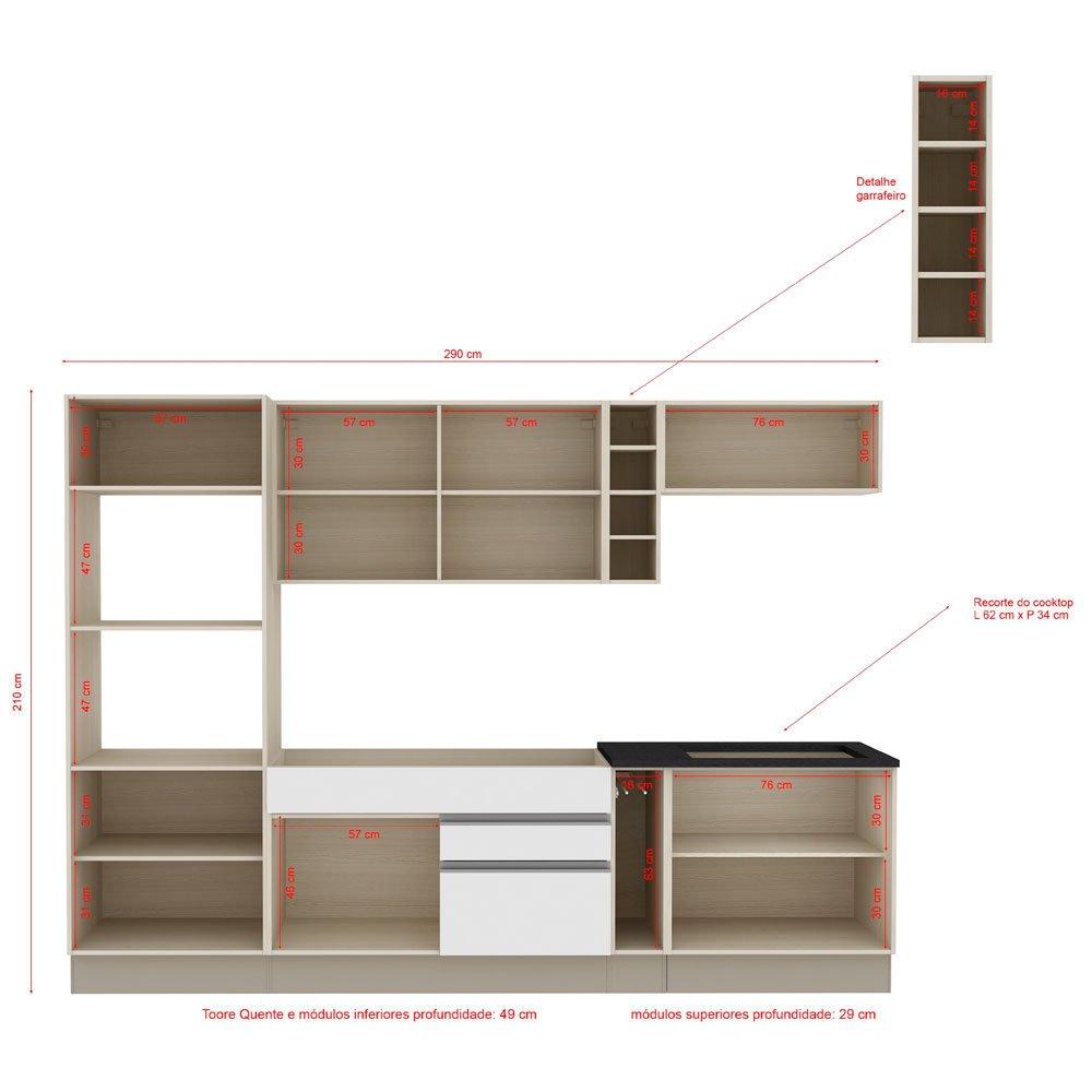 Cozinha Compacta Madesa Glamy Camille 9 Portas 2 Gavetas 2 Nichos