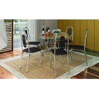 Conjunto Mesa com Tampo de Vidro com 6 Cadeiras Brastubo Sicília, Cromado