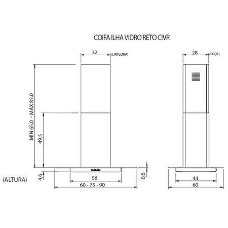 Coifa de Ilha Nardelli, 90 cm, Vidro Retangular, Inox - CIVR90