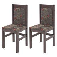Kit 2 Cadeiras Zamarchi Tabaco Floral - 11