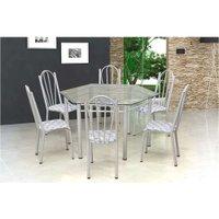 Conjunto Mesa com 6 Cadeiras e Tampo de Vidro Artefamol Lorena