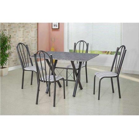 Conjunto Mesa Retangular com 4 Cadeiras e Tampo em Granito Artefamol Deise