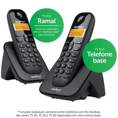 Telefone sem Fio Digital com Ramal Intelbras Preto - TS3112