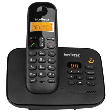 Telefone sem Fio com ID Intelbras com Secretária Eletrônica, Preto - TS3130