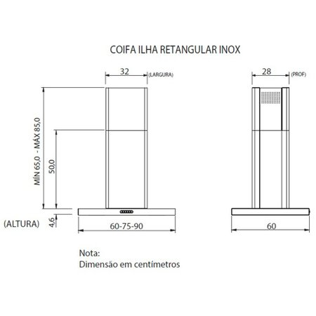 Coifa de Ilha Nardelli 75 cm, Retangular, 3 velocidades - CIRI75