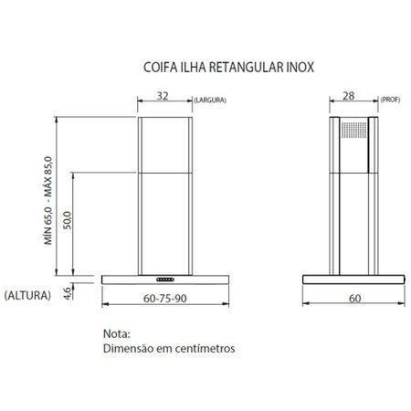 Coifa de Ilha Fogatti, 75 cm, Retangular, 3 Velocidades - CIRI75