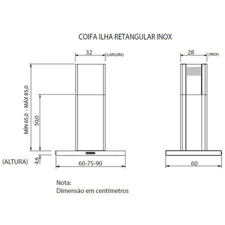 Coifa de Ilha Fogatti, 90 cm, Retangular, 3 Velocidades - CIRI90