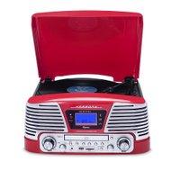 Sistema de Áudio Raveo Harmony BT, Toca Discos, USB, Rádio FM, Vermelho