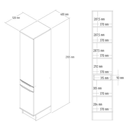 Paneleiro 40cm Slim Decibal, 2 Portas - CS605R
