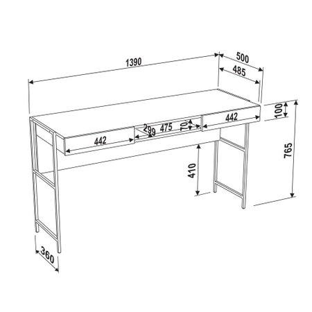 Mesa Escrivaninha Artesano Steel, 2 Gavetas - 27800