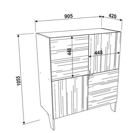 Balcao Adega Artesano Lift, 4 Portas - 12505