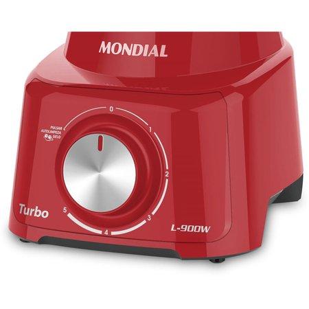 Liquidificador Mondial Turbo, 900W, Vermelho - L900