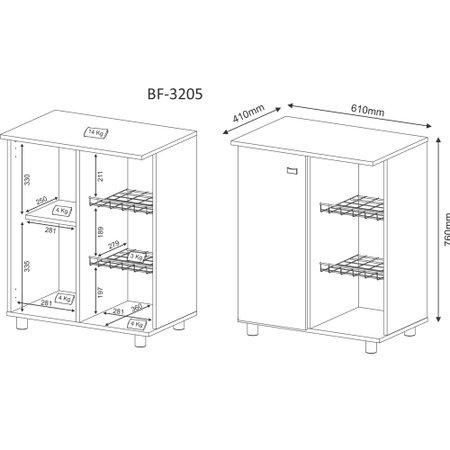 Balcao Multiuso Tecno Mobili com Fruteira, 1 Porta - BF3205