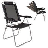 Cadeira Alta de Alumínio Mor Boreal, Reclinável, Preta - 2166