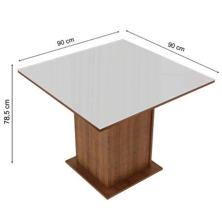 Mesa Quadrada com Tampo de Vidro Madesa New Diana - 5363