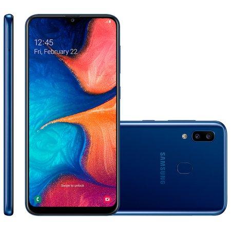 Smartphone Samsung Galaxy A20, 32GB, 13MP + 5MP, 4G, Dual Chip, Azul - A205G