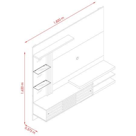 Estante Home Theater Suspensa Madetec Frizz Supreme, 2 Portas, Espelho