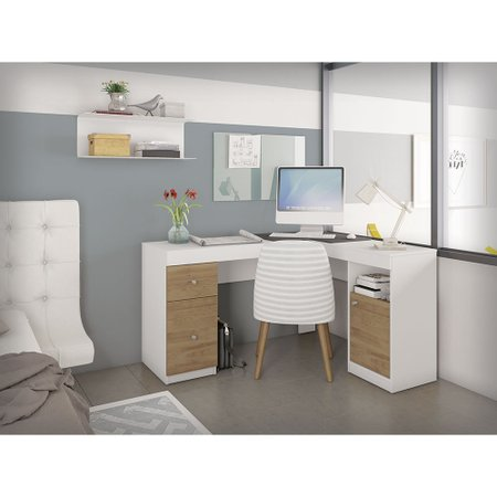 Mesa Escrivaninha de Canto Caemmun Work, 1 Porta, 2 Gavetas