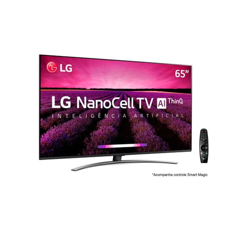 Smart TV Ultra HD 4K LED 65 LG NanoCell, 4 HDMI, 3 USB, Wi-Fi - 65SM8100PSA