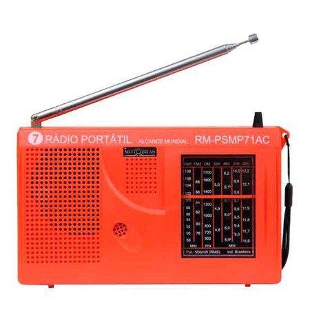 Radio Portatil Motobras, 7 Faixas, FM/AM/OC, Laranja - RM-PSMP71/AC