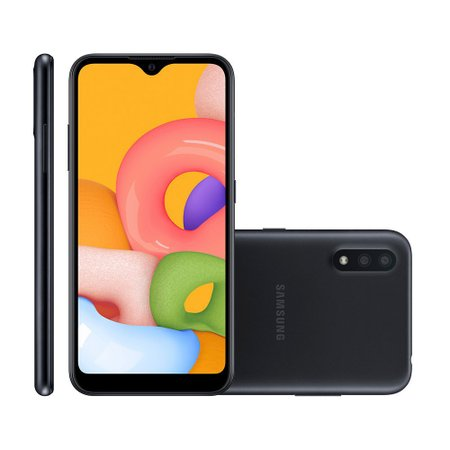Smartphone Samsung Galaxy A01, 32GB, 13MP + 2MP, Dual Chip, Preto - A015M