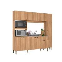 Cozinha Compacta THB Moderna, 9 Portas, 1 Gaveta, Acácia