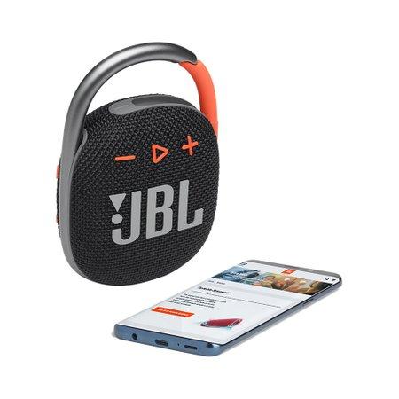 Caixa de Som Portátil à prova d'água JBL Clip 4 Black com Bluetooth - CLIP4BLKO